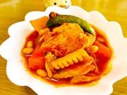根菜とむね肉のとろけるチーズトマト煮の写真