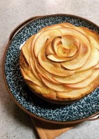 りんごとバナナのバラケーキ