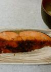 鮭の醤油胡椒炒め&ネギときのこの味噌汁✨