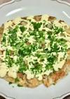 白菜で明太子&豚肉&チーズお好み焼き