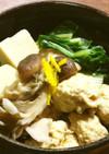 柚子鶏団子、ふだん草、茸、高野豆腐の煮物