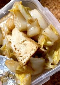 厚揚げと白菜のとんかつソース炒め