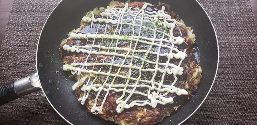 フライパンで作る山芋入大阪風大判お好み焼