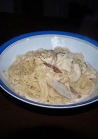 ポルチーニ茸と鶏胸肉の塩麹漬のパスタ