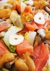 白菜、きのこ、玉ねぎと鮭のちゃんちゃん焼