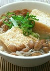 簡単ボリューミー♡栃尾揚げと納豆の味噌汁