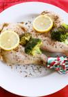 骨付き鶏もも肉のハーブ塩蒸しレモンソース