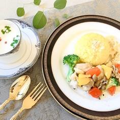 彩り野菜とチキンのギリシャ風煮込み