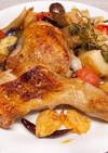 骨付き鶏もも肉と野菜のハーブ焼き