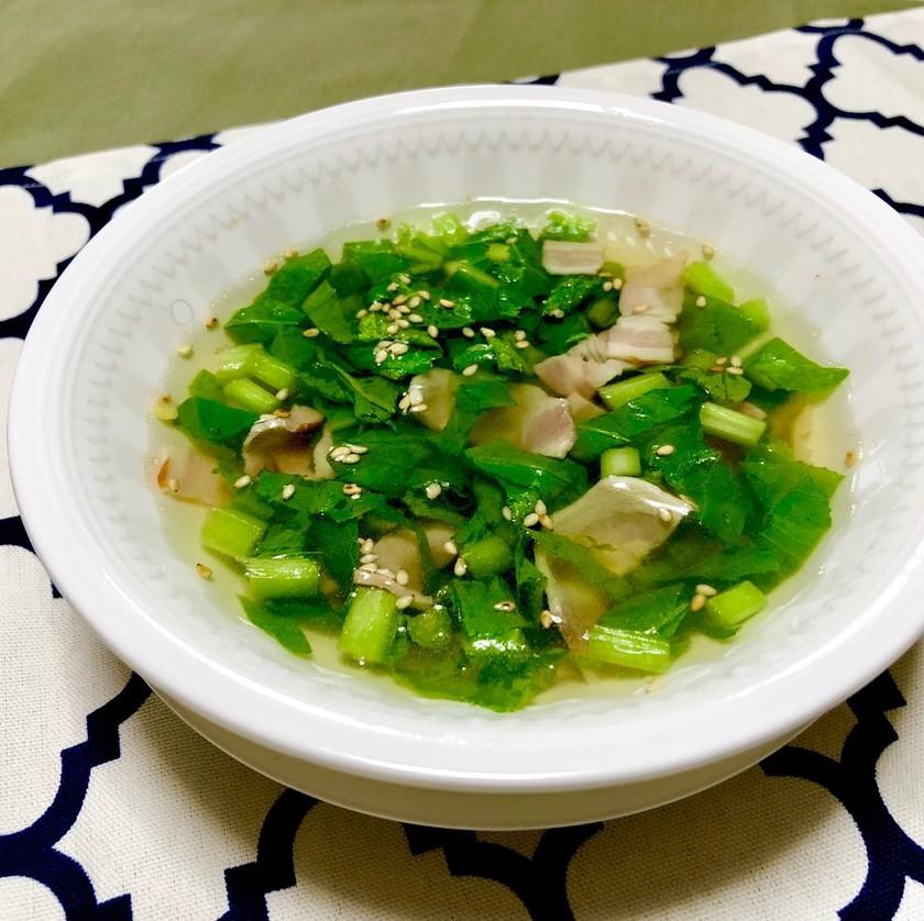 あったまる★かぶの葉とベーコンのスープ