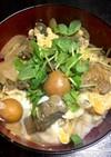 鳥モツ煮再利用卵とじ丼