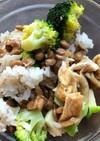 納豆とブロッコリー、油揚げのご飯