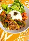 チャプチェ風焼肉丼野菜と簡単ワンプレート