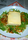水菜サラダと温奴のお手軽タパス