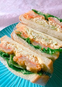 朝食に!海老フライタルタルサンドイッチ
