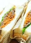 わさび菜と焼き肉のボリュームサンド