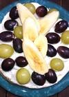 ぶどうとバナナの3段ホットケーキ