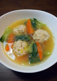 鶏団子と青梗菜の春雨スープ