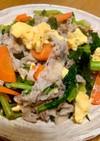 豚バラ肉と菜の花の塩酒蒸し炒め