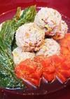 明日葉の茎入り♪豚肉団子(つくね)スープ