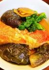 金目鯛と茄子と菜の花の煮物