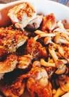 鶏肉としめじの蜂蜜マスタード煮
