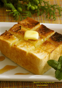 厚切りバタートースト☆メープルシロップで
