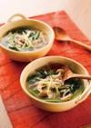 きのこと小松菜のしょうがホットスープ