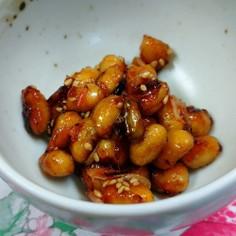 給食を再現、大豆の甘辛炒め。