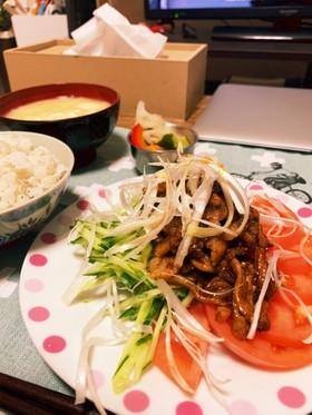 豚バラ肉の細切り柚味噌炒め