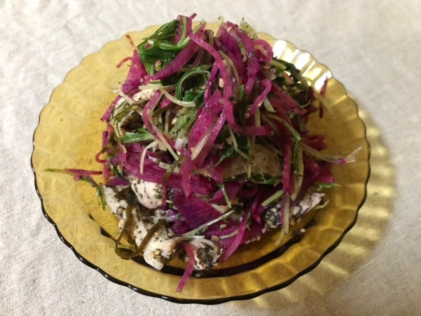 紅芯大根と水菜の和風サラダ