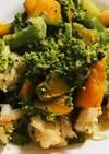 エビとブロッコリーとカボチャの炒め物