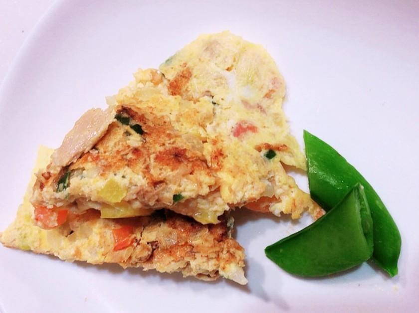 朝食に簡単!野菜とツナのチーズオムレツ