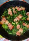 大根葉と厚切りベーコンのアヒージョ炒め