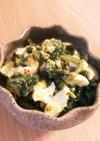 セロリの葉マヨタマゴ粒マスタード炒め