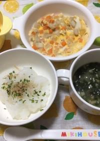 9ヶ月☆ごはん 卵とじ 味噌汁