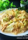 キャベツとひき肉の甘味噌卵綴じ炒め