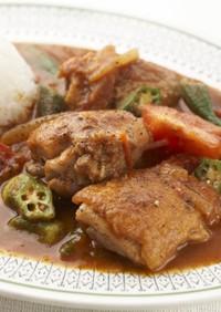 阿波尾鶏とオクラのガンボ風スープ