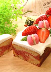 苺のマーブルパウンドケーキ