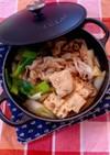 焼き豆腐と豚肉のすき焼き風煮