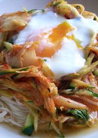 キムチとたっぷり野菜の韓国風そうめん