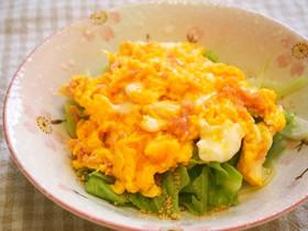 蒸しキャベツにとろとろ紅生姜卵のせ!