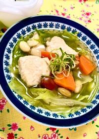 疲労回復!鶏胸肉と大豆と野菜の和風スープ