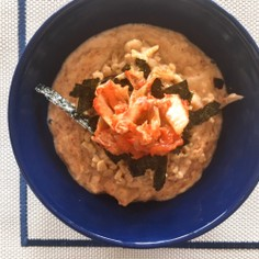 納豆&キムチ豆乳のオートミールリゾット