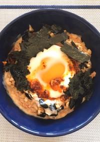 温泉卵&キムチ豆乳のオートミールリゾット