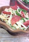 レンジで簡単、水菜とえのきとサラミ和え