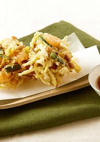 福豆(煎り大豆)と根菜のかき揚げ
