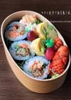 お弁当に鮭マヨと餃子の海苔巻き風