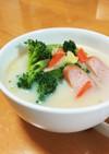 ウインナー白菜ブロッコリーのミルクスープ