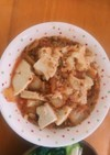 キムチと納豆と木綿豆腐のぶっかけご飯
